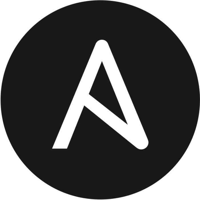 The Ansible logo, a stylised letter A - white on a black background
